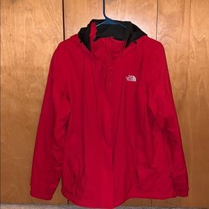 Red North Face Rain Jacket